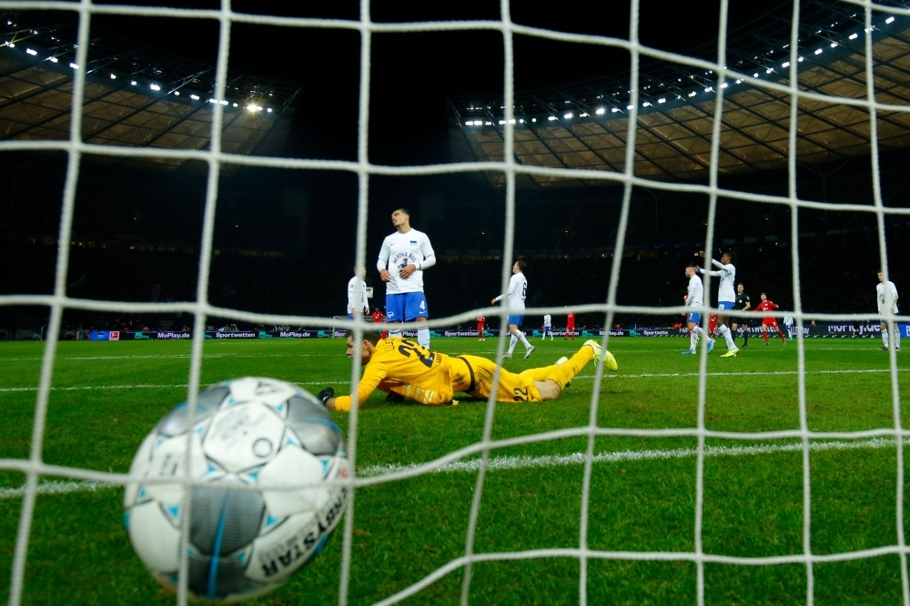 Hertha Berlin's Norwegian goalkeeper Rune Jarstein fails to save Leipzig's German forward Timo Werner's (not in Picture) goal during the German first division Bundesliga football match Hertha BSC Berlin vs RB Leipzig, at the Olymic Stadium in Berlin on Saturday. — AFP