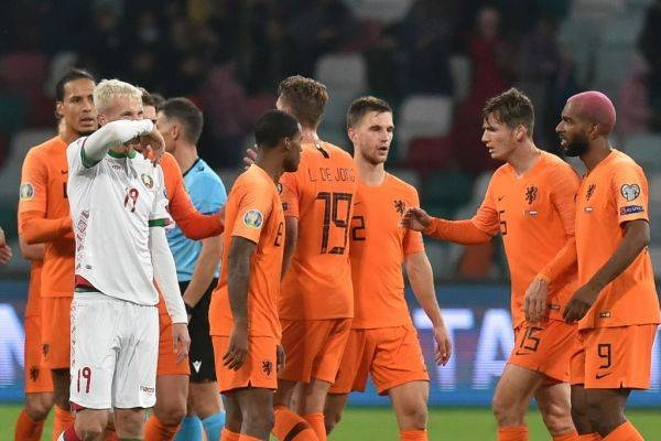 Netherlands' players celebrate after the Euro 2020 football qualification match between Belarus and the Netherlands in Minsk on Wednesday. — AFP