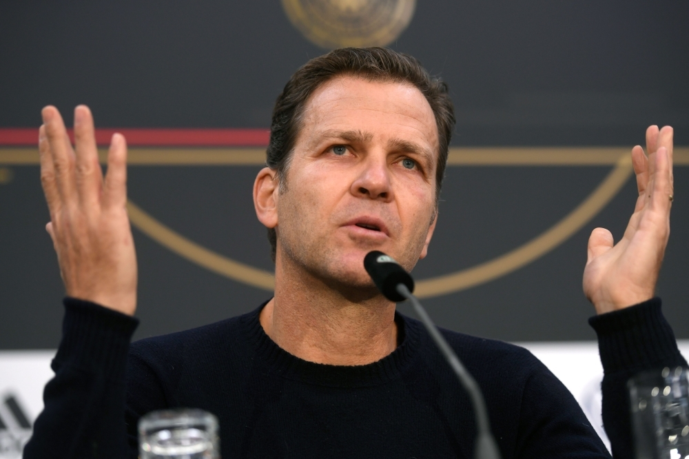 German national football team's manager Oliver Bierhoff speaks during a press conference ahead of the UEFA EURO 2020 qualification football match between Germany and Belarus in Duesseldorf, western Germany on Wednesday. — AFP