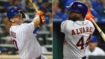 Young sluggers Pete Alonso of the Mets, left, and Yordan Alvarez, right, of the Astros were named NL and AL rookies of the year, respectively, on Monday. Alonso led the major leagues in home runs with 53 while Alvarez posted a 1.067 on-base-plus slugging percentage for pennant-winning Houston. — Courtesy photo