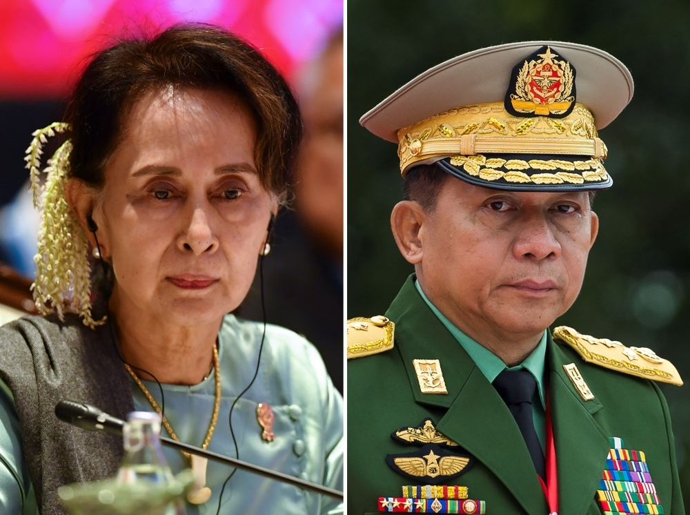 This combination of file photos shows Myanmar State Counselor Aung San Suu Kyi, left, and Myanmar military chief Senior General Min Aung Hlaing . — AFP