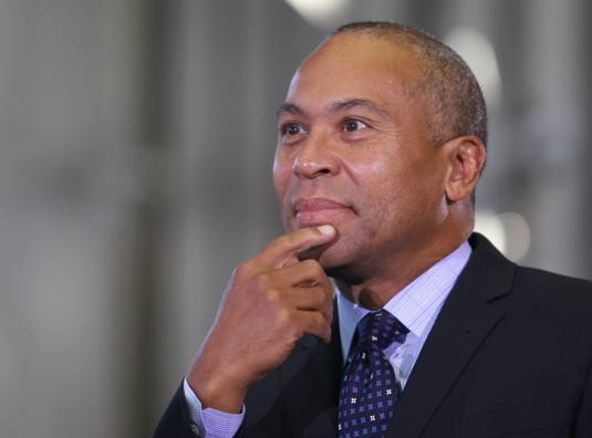 (Boston, MA - 10/9/14) Gov. Deval Patrick listens during a speaking program at MassCEC's Wind Technology Testing Center in Charlestown, Thursday, October 09, 2014. Staff photo by Angela Rowlings.