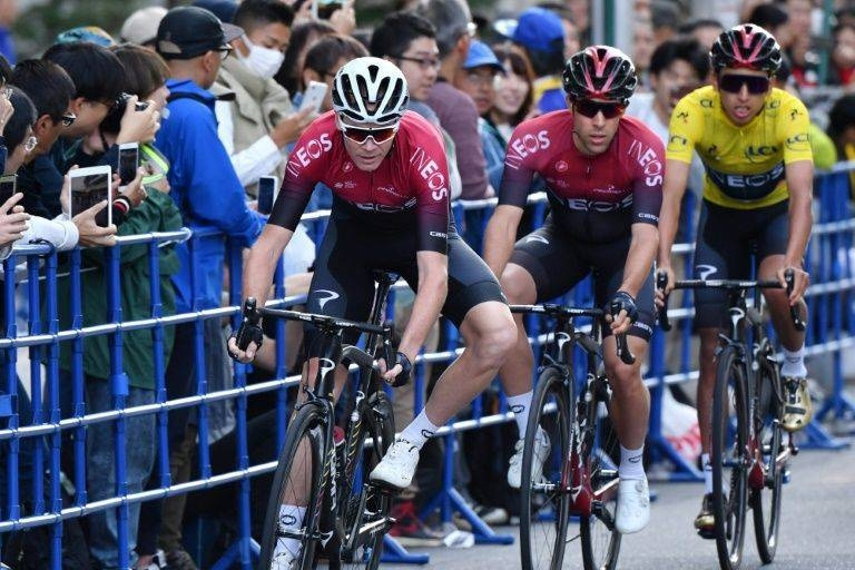 Egan Bernal of Colombia (3rd L) was buoyed by what he saw from his teammate Chris Froome of Britain (L) in Saitama. - AFP