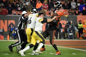 Cleveland Browns player Myles Garrett has been suspended for the rest of the season after striking Mason Rudolph with the Pittsburgh quarterback's helmet. — AFP