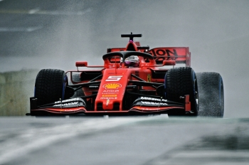 German F1 driver Sebastian Vettel powers his Ferrari at the Interlagos racetrack in Sao Paulo, Brazil, on Friday, during the first free practice for the Brazilian Formula One GP, to take place on November 17. — AFP