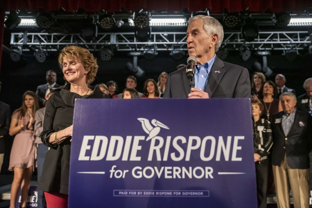 Republican nominee for Governor of Louisiana Eddie Rispone gives his concession speech on Saturday in Baton Rouge, Louisiana. -AFP