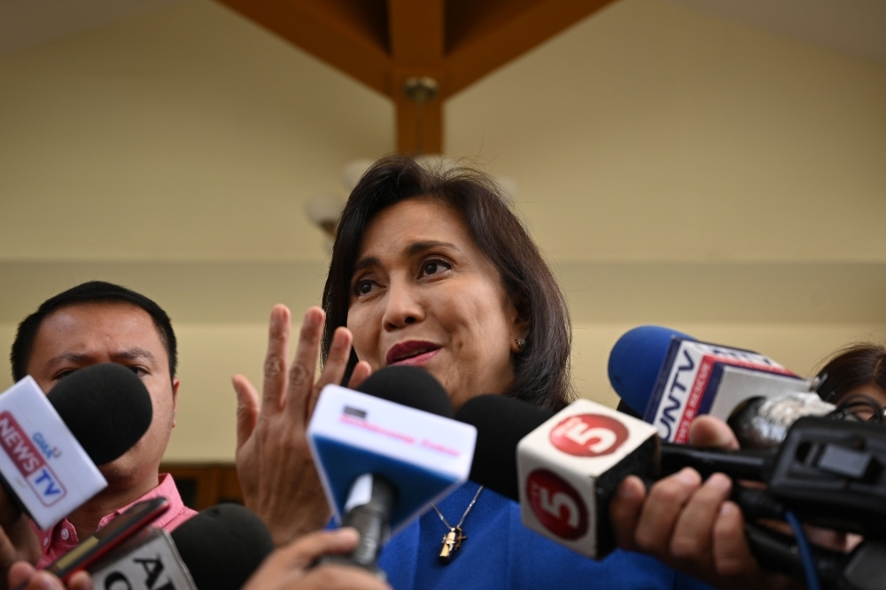 Philippine Vice President Leni Robredo attends a press conference at her office in Manila on November 14, 2019, following a meeting with members of law enforcement and military officials a week after she accepted the offer from President Rodrigo Duterte to lead a role in the deadly drug war. -AFP
