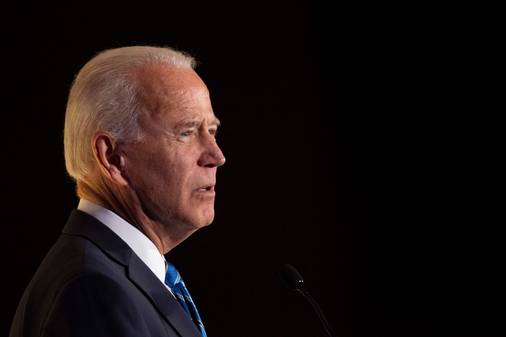 In this file photo taken on Oct. 17, 2019, Democratic presidential hopeful and former US Vice President Joe Biden speaks during the Women's Leadership Forum Conference in Washington DC. — AFP