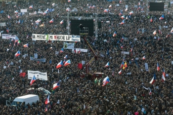 People attend a protest in Prague against Czech Prime Minister Andrej Babis on eve of Velvet Revolution anniversary on Saturday. -AFP