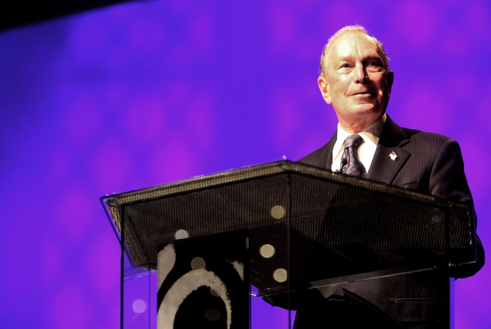 Michael Bloomberg speaks at the Christian Cultural Center on Sunday in the Brooklyn borough of New York City. -AFP