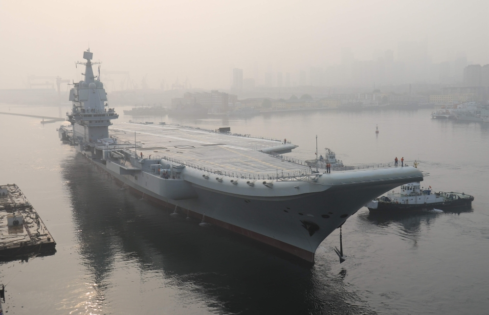 In this file photo taken on May 13, 2018, China's first domestically manufactured aircraft carrier, known only as