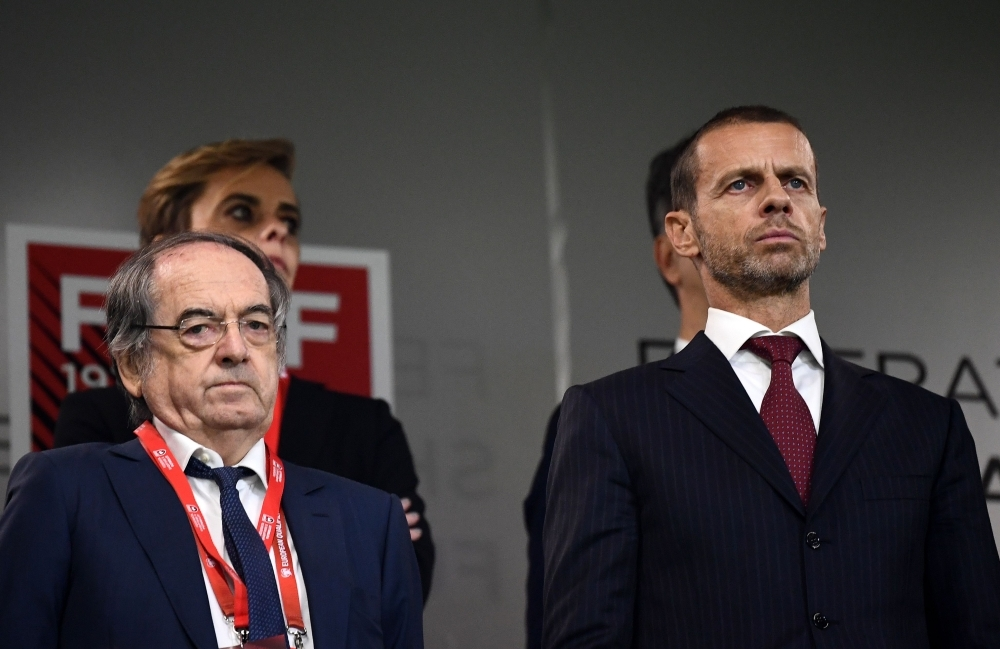 UEFA President Aleksander Ceferin (R) and French president of French football association (FFF) Noel Le Graet (L) attends during the Euro 2020 Group H football qualification match between Albania and France at the Air Albania Stadium in Tirana, on Sunday. — AFP