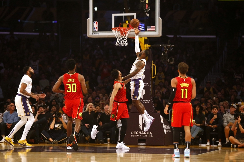 LeBron James (23) of the Los Angeles Lakers goes up for a shot during the first half of a game against the Atlanta Hawks at Staples Center in Los Angeles, California on Sunday. — AFP