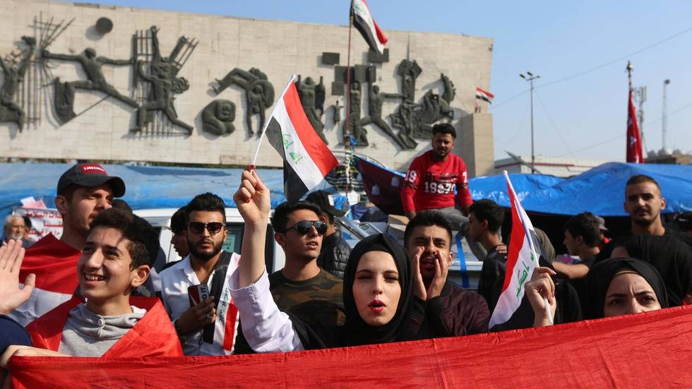 Iraqi protesters are seen in this file photo. — AFP