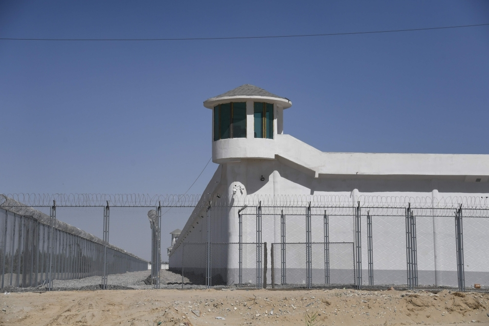 A watchtower on a high-security facility near what is believed to be a re-education camp where mostly Muslim ethnic minorities are detained, on the outskirts of Hotan, in China's northwestern Xinjiang region, in this May 31, 2019 file photo. — AFP