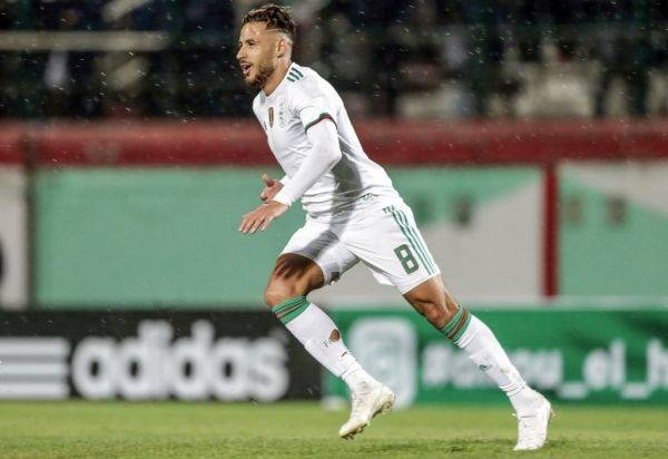 Algeria's Youcef Belaili celebrates scoring his side's third goal during the 2021 Africa Cup of Nations qualifying Group H soccer match between Algeria and Zambia at the Mustapha Tchaker Stadium. — AFP