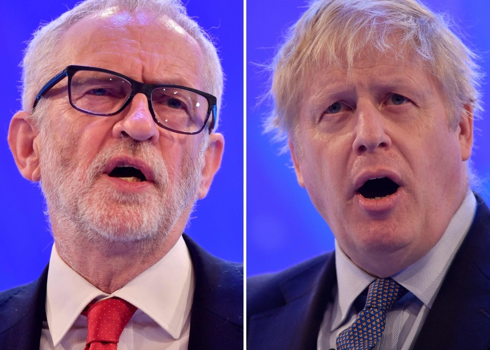 Britain's Prime Minister and Conservative Party leader Boris Johnson, right, and Britain's main opposition Labour Party leader Jeremy Corbyn are seen in this file combination picture. — AFP