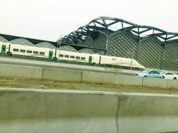 The Haramain train at the railway station of the new King Abdulaziz International Airport on Monday. — Courtesy photo