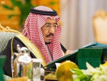 Custodian of the Two Holy Mosques King Salman chairs the weekly session of the Cabinet at Al-Yamamah Palace in Riyadh, Tuesday. — SPA