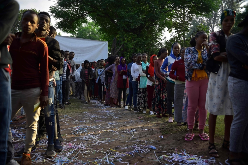 Voters wait in a queue to cast their vote during the Sidama referendum in Hawassa, Ethiopia, on Wednesday. — AFP