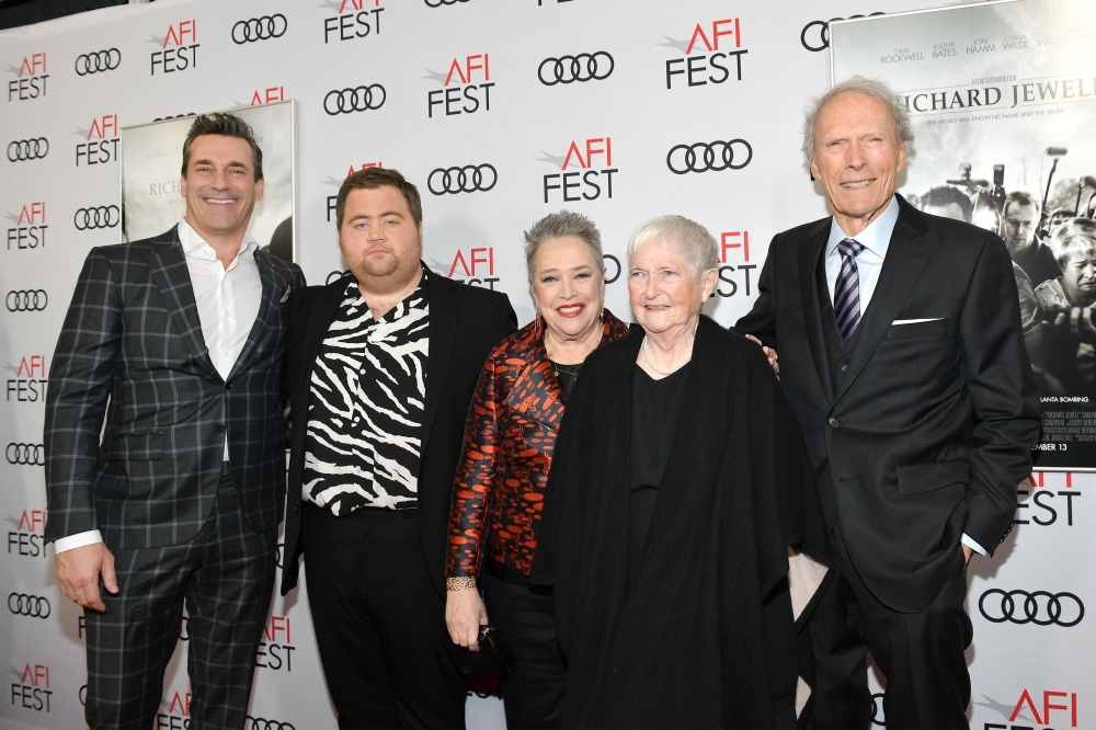 Jon Hamm, left, Paul Walter Hauser, second left Kathy Bates, center, Barbara