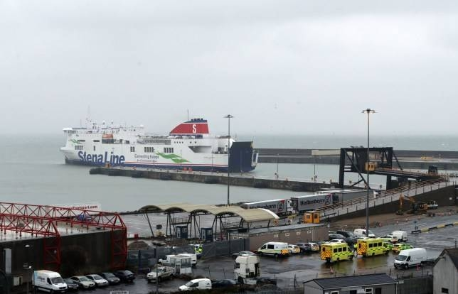 Emergency personnel are seen at the Irish port of Rosslare awaiting the arrival of a Stena Line ferry on Thursday. — Courtesy photo