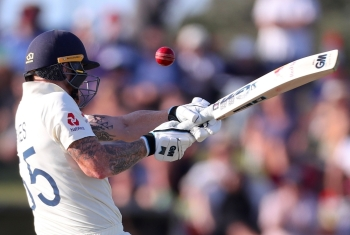 England's Ben Stokes hits a shot on day one of the first Test cricket match between England and New Zealand at Bay Oval in Mount Maunganui on Thursday. — AFP