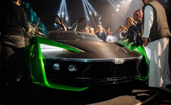 "Turki Al-Sheikh, Chairman of the Board of Directors of the General Entertainment Authority (GEA) and President of Riyadh Season, unveils on Thursday a car of the future called ""Car 2030"" in the Riyadh Motor Show."