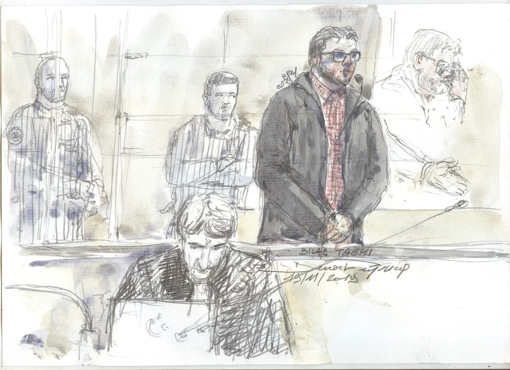 This court sketch made on Nov. 19, 2019 shows Bilal Taghi, a radicalized member of Daesh (the so-called IS), on trial at the criminal court in Paris after he attacked two prison guards at the Osny prison facility in 2016. — AFP