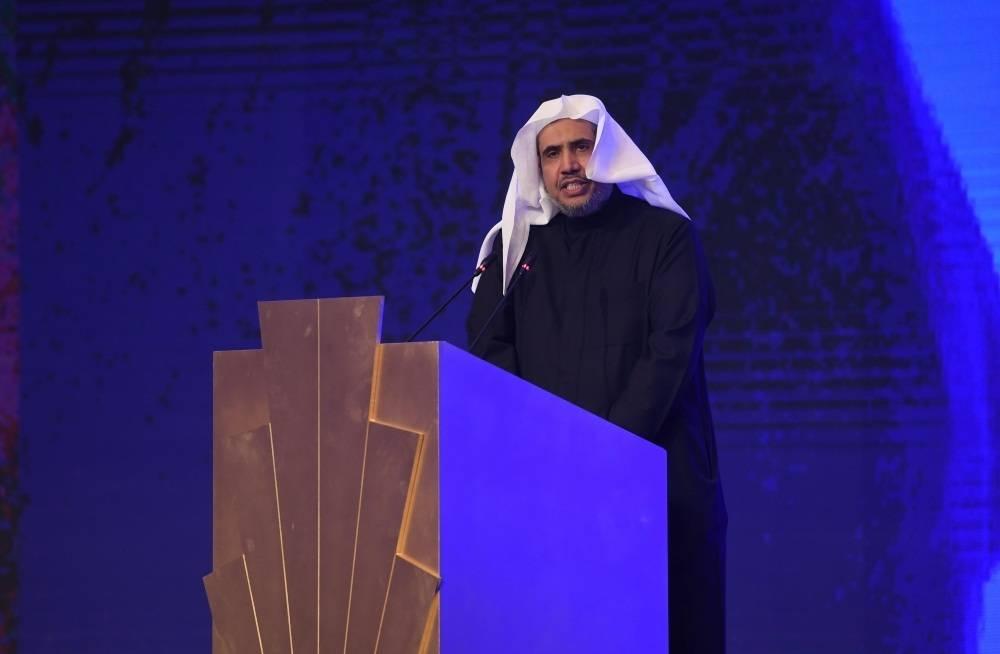 Sheikh Mohammed Al-Essa, secretary general of the Muslim World League, speaks at the Saudi Media Forum in Riyadh, Monday. — SPA