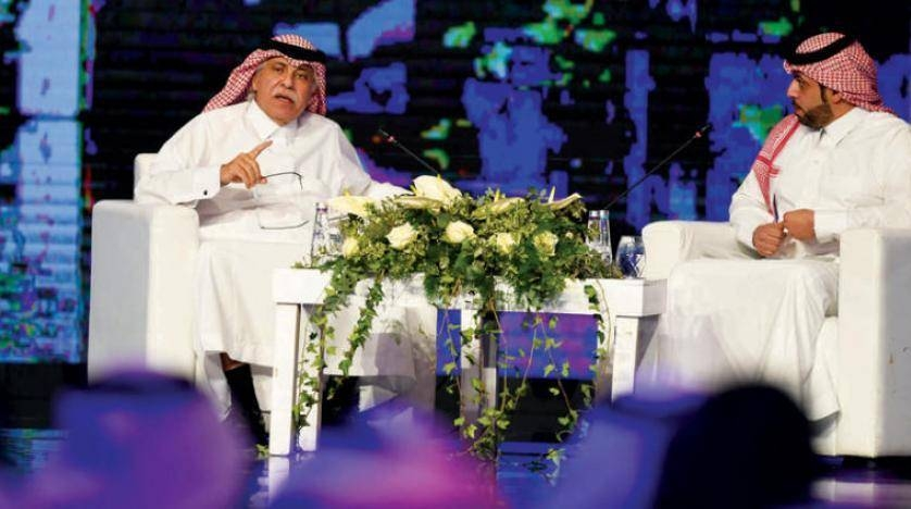 """Minister of Commerce and Investment Majed Al-Qasabi during Saudi Media Forum's panel discussion on """"Saudi Arabia: Important presence in the international investment map."""" — Courtesy photo"""