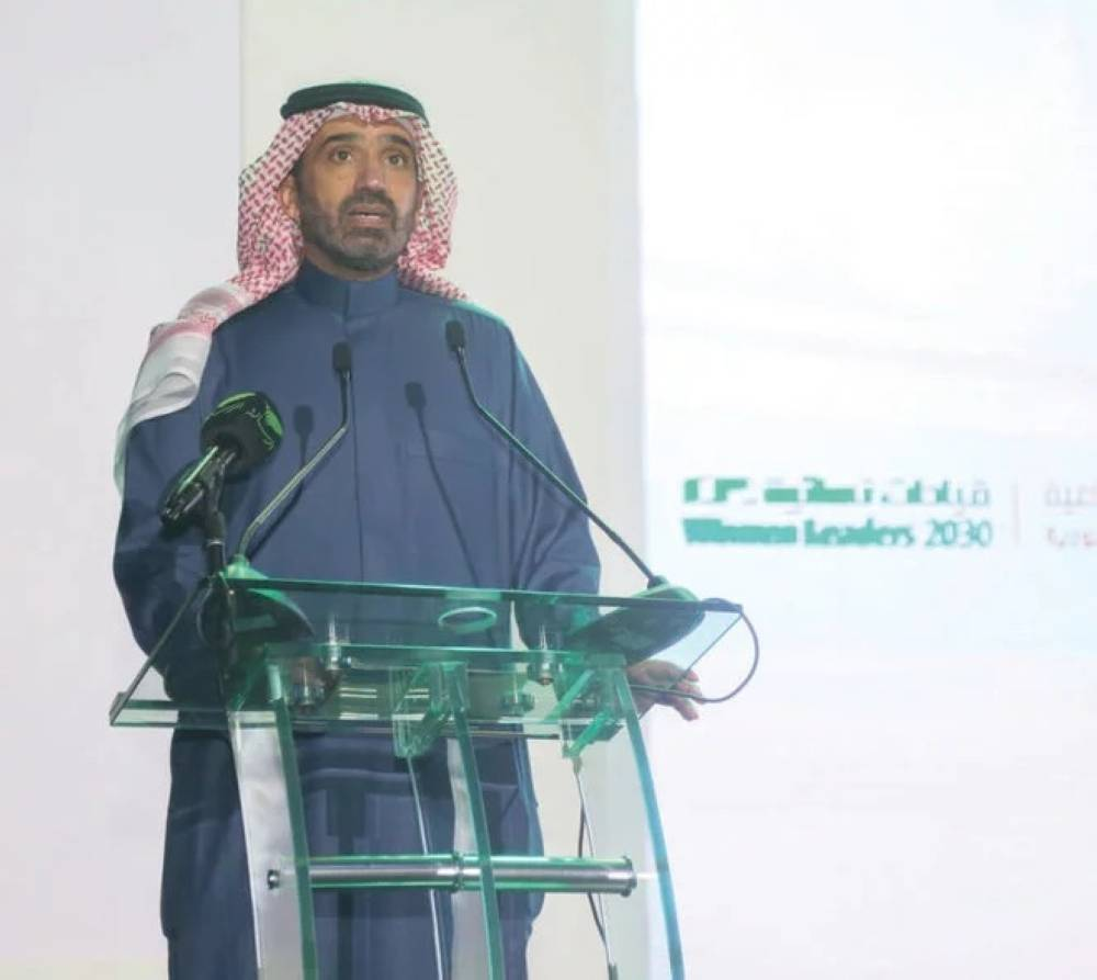 Minister of Labor and Social Development Ahmed Bin Suleiman Al-Rajhi speaks at a function in Riyadh, Tuesday. — Courtesy photo