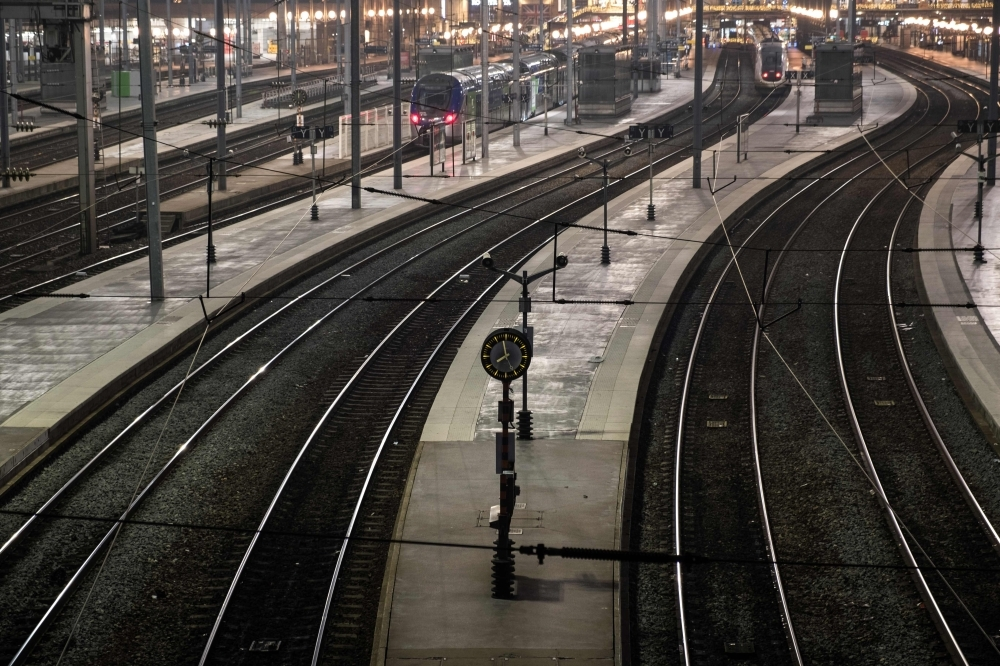A view of the Gare du Nord in Paris during a strike of Paris public transports operator RATP employees over French government's plan to overhaul the country's retirement system, on Thursday. — AFP