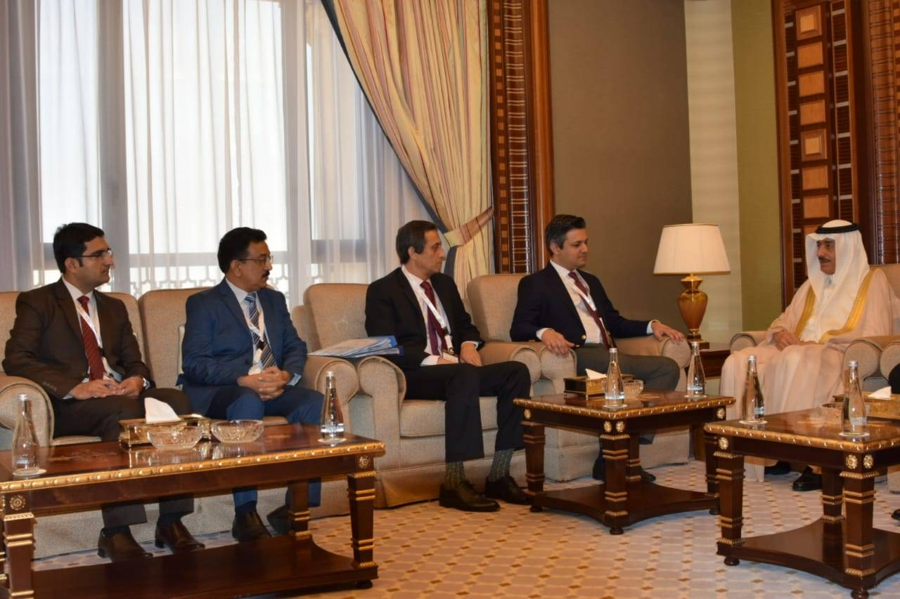 Pakistan's Minister for Economic Affairs Mohammad Hammad Azhar in talks with the President of the Islamic Development Bank (IDB)  Dr. Bandar Al Hajjar, right. — Courtesy photo