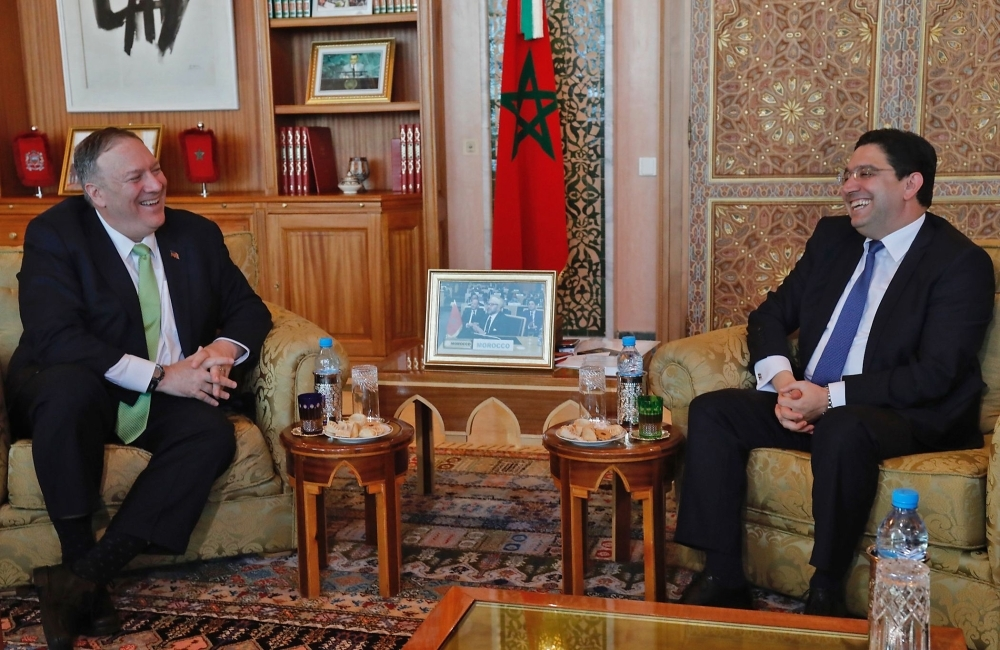 US Secretary of State Mike Pompeo, left, meets with Morocco's Foreign Minister Nasser Bourita during his visit to Rabat on Thursday. — AFP