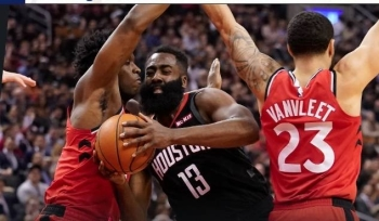 Keen action during the NBA clash between Houston Rockets and Toronto Raptors.