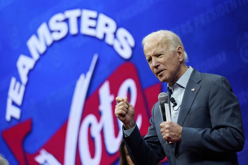 Democratic presidential candidate former U.S. Vice president Joe Biden speaks at the Teamsters Vote 2020 Presidential Candidate Forum Saturday in Cedar Rapids, Iowa. -AFP