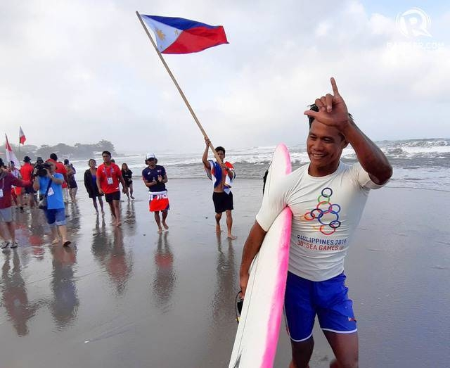 Philippines Roger Casugay celebrating after winning the SEA Games gold medal on Sunday. — Courtesy photo
