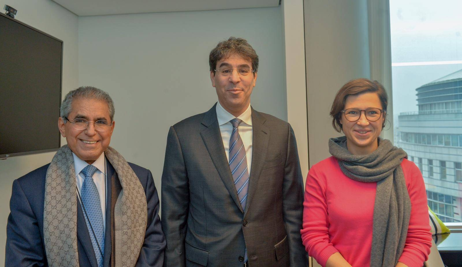 Dr. Al-Awwad Bin Saleh Al-Awwad (center) is flanked by Hannah Neumann, the Chair of the European Parliament Delegation for Relations with the Arab Peninsula and Vice-Chair on the Subcommittee for Human Rights; and Ambassador Saad Bin Mohammed Al-Arifi, head of the Saudi Mission to the European Union; in Brussels. — Courtesy photo