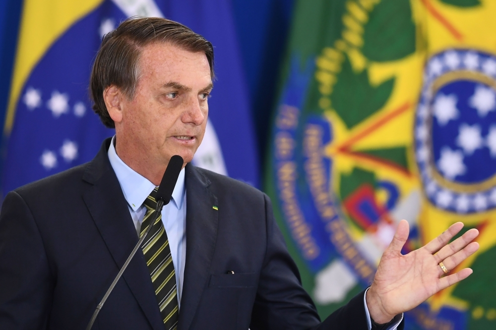 Brazilian President Jair Bolsonaro delivers a speech during the Armed Forces General Officers promotion ceremony at Planalto Palace in Brasilia in this Dec. 9, 2019 file photo. — AFP