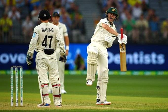 Australian batsman Marnus Labuschagne on Thursday celebrated his Test century to frustrate a resilient New Zealand attack on the opening day of the first Test in Perth.