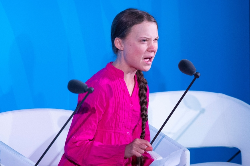 Youth Climate activist Greta Thunberg speaks during the UN Climate Action Summit at the United Nations Headquarters in New York City in this Sept. 23, 2019 file photo. — AFP