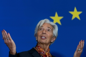 President of the European Central Bank (ECB) Christine Lagarde is seen during a press conference at the House of European History in Brussels to celebrate the 10th anniversary of the Lisbon Treaty in this Dec. 1, 2019 file photo.