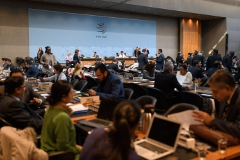 Delegates are seen prior to a general council meeting of the World Trade Organization (WTO) at the trade intergovernmental organization headquarters in Geneva in this Dec. 10, 2019 file photo. — AFP