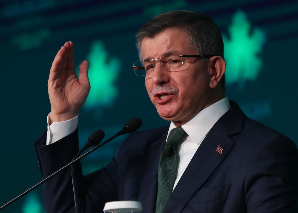 Former Turkish Prime Minister Ahmet Davutoglu gives a press conference to announce the establishment of his future political party in Ankara on Friday. — AFP