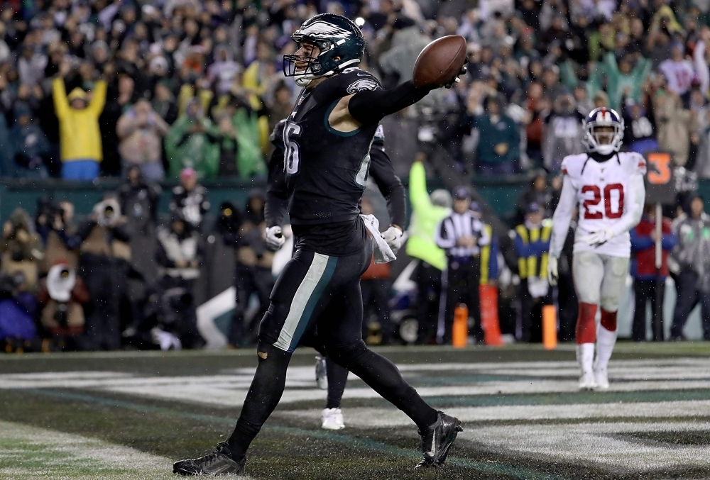 In this file photo taken on Dec. 9, 2019, Tight end Zach Ertz No. 86 of the Philadelphia Eagles celebrates his catch for a touchdown in overtime to win 23-17 over the New York Giants at Lincoln Financial Field in Philadelphia, Pennsylvania.  The Eagles kept their playoff hopes alive with an overtime victory against the New York Giants to deny Eli Manning a fairytale return. A Zach Ertz touchdown on the opening drive of overtime sealed a 23-17 win for the Eagles, who overturned a 17-3 halftime deficit to stay on target for a place in the postseason. — AFP
