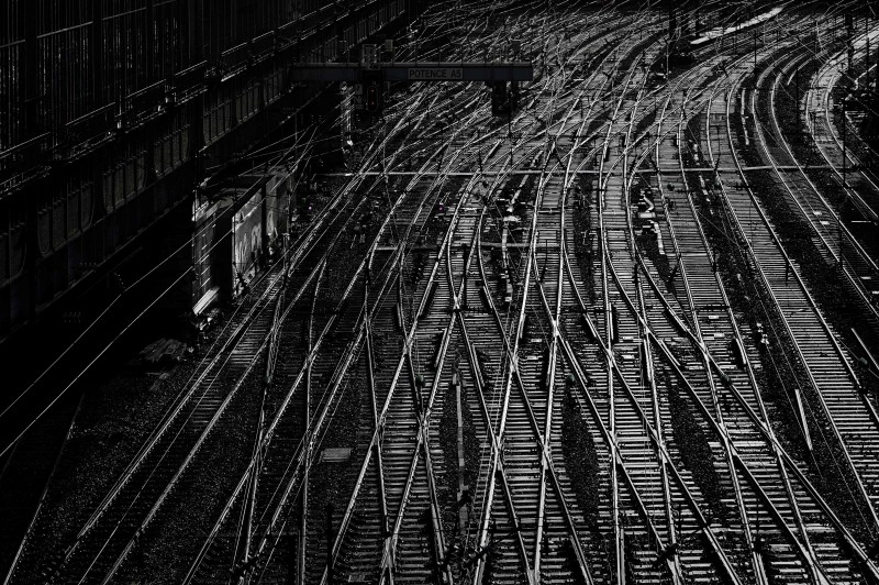 Empty tracks leading to the Saint-Lazare railway station are seen in Paris on Friday during a strike of public transports operator SNCF and RATP employees over French government's plan to overhaul the country's retirement system, as part of a nation-wide movement. — AFP