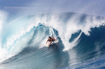 In this file photo taken on Aug. 28, 2019 Brazilian surfer Adriano DeSouza competes in the 2019 Tahiti Pro at Teahupoo, Tahiti. Tahiti is to host surfing events at 2024 Paris Olympics, the organizers announced on Thursday. — AFP