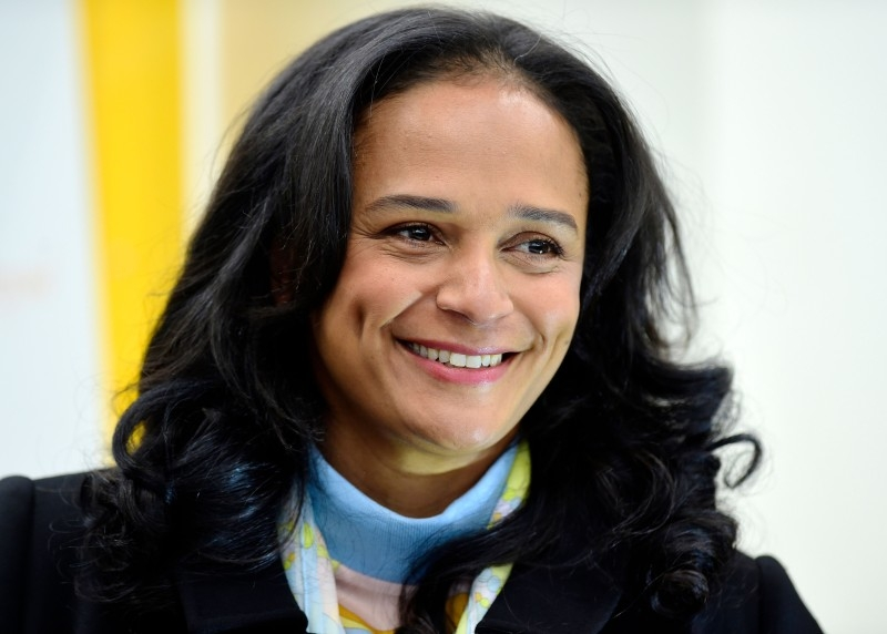 In this file photograph taken on February 5, 2018, Angolan businesswoman Isabel dos Santos looks on as she visits the recently started EFACEC Portuguese corporation's electric mobility industrial unit in Maia, central Portugal. -AFP