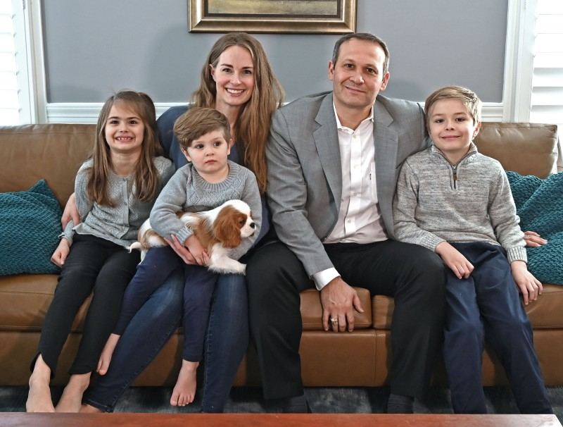 Maren and Ricardo Chamorro pose with their children (from L-R) Johanna, Johan and Thomas and the new family dog Henry during an interview with AFP at their home in McLean, Virginia, Dec. 26, 2019. — AFP